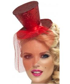 Mini chapeau burlesque rouge avec voilette