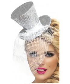 Mini chapeau burlesque argent avec voilette