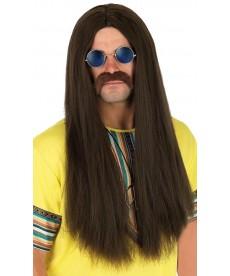 Perruque hippie châtain
