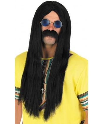 Perruque hippie noir