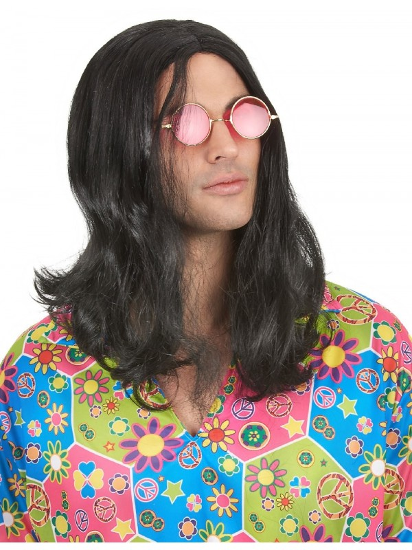 Perruque homme hippie noire