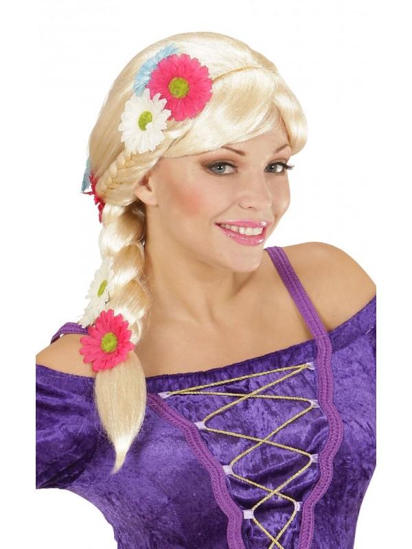 Perruque blonde tresse et fleurs