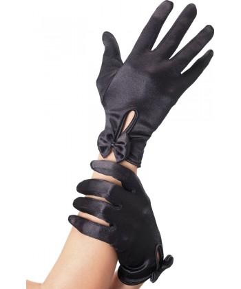 Gants noirs avec noeud