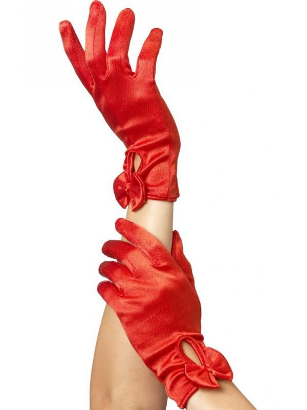 Gants rouges avec noeud