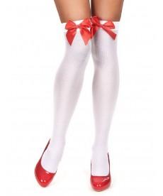 Bas blancs avec noeud rouge