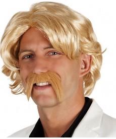 Perruque avec moustache blonde