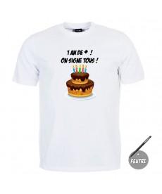 Tee shirt anniversaire à signer