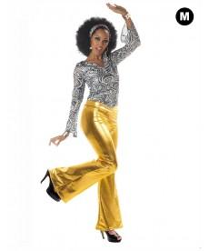 Pantalon disco femme doré