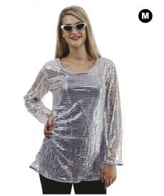 Déguisement Disco robe à paillettes argent