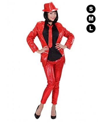 Leggins disco paillettes rouges