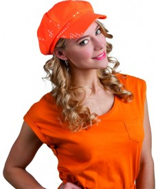 Casquette disco orange paillettes