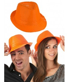 chapeau paillettes orange