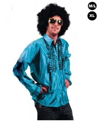 """Déguisement """"Chemise Disco bleue turquoise"""""""