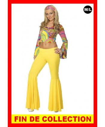 Déguisement Disco pantalon pattes deph jaune