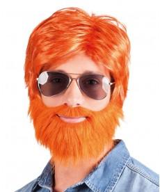Perruque et barbe rousse d'irlandais