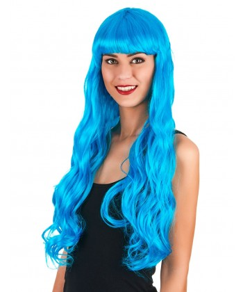 Perruque ondulée bleue