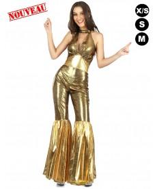 déguisement disco femme or