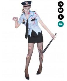 Déguisement zombie femme flic