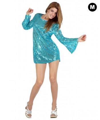 Déguisement Disco robe à paillettes bleues