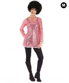 Déguisement Disco robe à paillettes roses