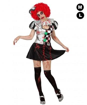 Déguisement Arlequin zombie femme
