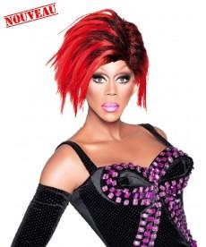 Perruque drag queen rouge et noire