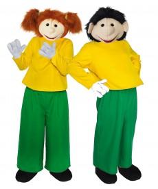 Mascotte personnages Dessin animé en duo