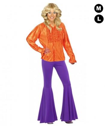 Chemise disco femme orange