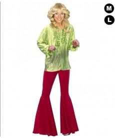 Chemise disco femme verte