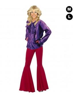 Chemise disco femme violette