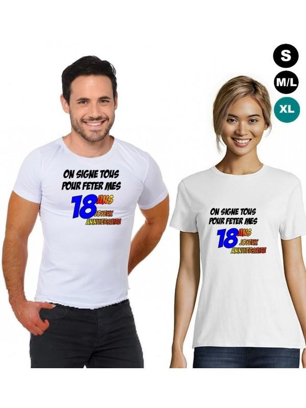 """T-shirt anniversaire """"18 ans à signer"""""""