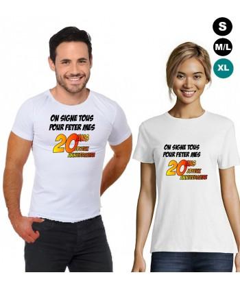 """T-shirt anniversaire """"20 ans à signer"""