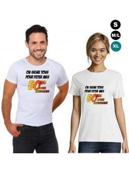 """T-shirt anniversaire """"50 ans à signer"""""""