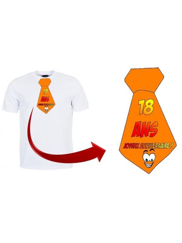 """T-shirt anniversaire """"Cravate 18 ans"""""""