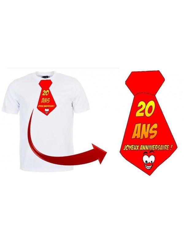 """T-shirt anniversaire """"Cravate 20 ans"""""""