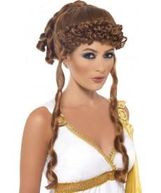 Perruque Dame du Moyen age chatain