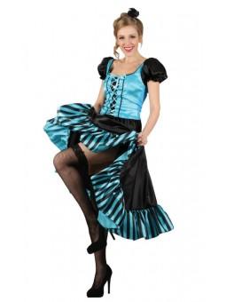 Déguisement de dame de saloon bleu