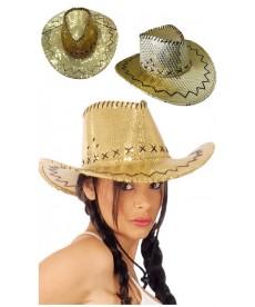 Chapeau de Cow-girl paillettes or