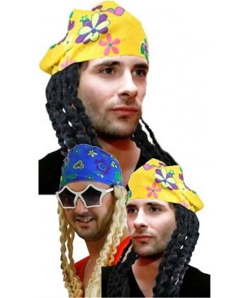Perruque hippie avec bandana