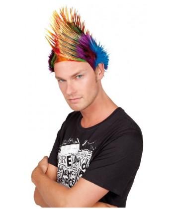 Perruque de punk multicolore