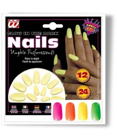 10 Faux Ongles fluo