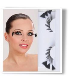 Faux cils longues plumes noires avec colle