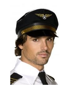 Casquette de pilote d'avion noire